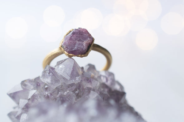 Gold Ruby ring | Red ruby crystal ring | Raw crystal ring