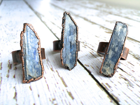 Raw Kyanite ring | Blue Kyanite crystal ring | Kyanite healing crystal ring