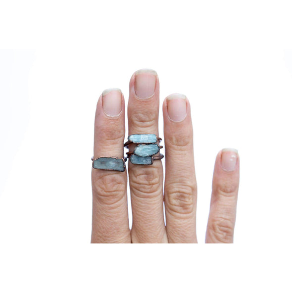 Kyanite ring | Blue Kyanite ring | Electroformed Kyanite ring | Kyanite mineral ring | Kyanite healing crystal jewelry | Kyanite Bar Ring