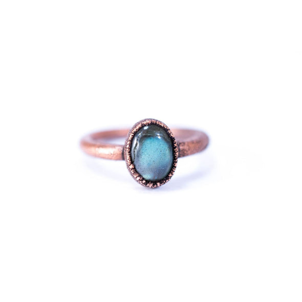 Labradorite ring | Simple stone stacking ring | Blue Labradorite stacking ring | Raw mineral Jewelry | Organic stone jewelry | Stacking ring