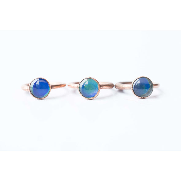 Mood ring | Electroformed jewelry | Organic copper jewelry | Blue Mood Ring