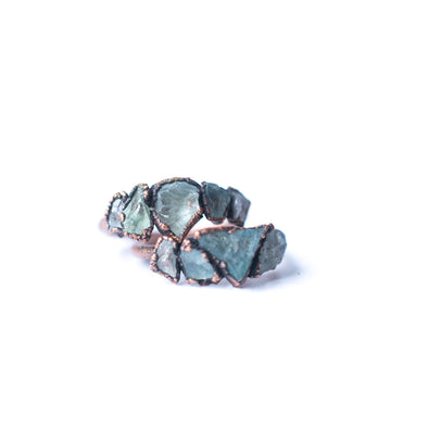Multi Stone Ring | Rough aquamarine gemstone ring | March birthstone jewelry