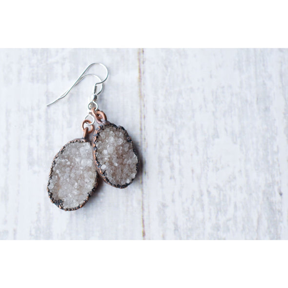 Natural crystal earrings | Druzy crystal earrings | Druzy earrings | Undyed druzy crystal earrings | Raw gemstone jewelry