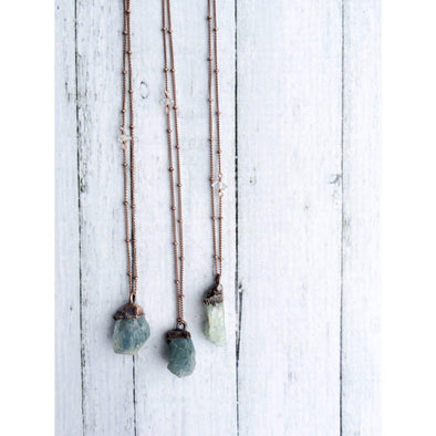 Natural gemstone necklace | Untreated aquamarine jewelry | March birthstone necklace NECKLACES