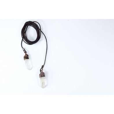 Quartz Lariat | Leather Lariat Necklace | Crystal Lariat