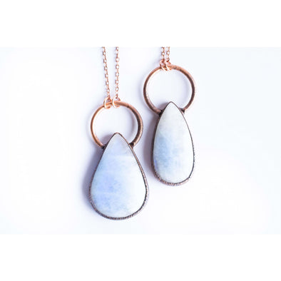Rainbow Moonstone necklace | Moonstone Necklace | Electroformed copper crystal necklace