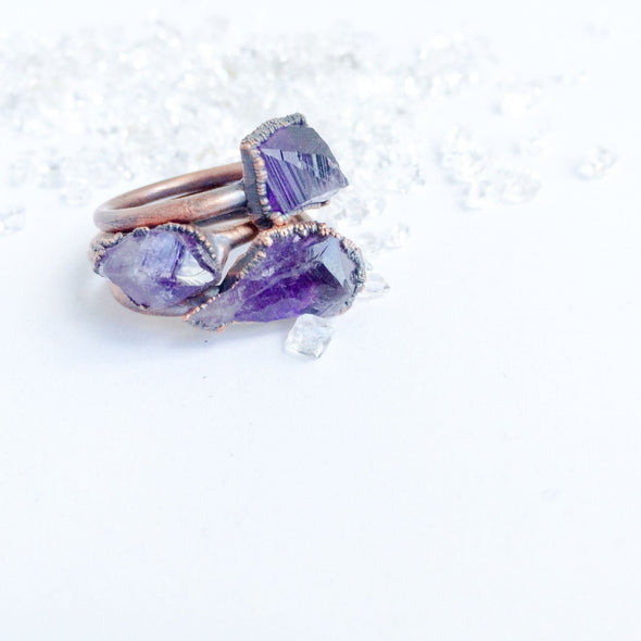 Raw amethyst ring | Amethyst crystal ring | Purple amethyst and copper ring | Rough amethyst jewelry | Raw amethyst crystal statement ring