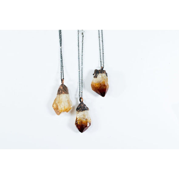 Raw citrine necklace | Citrine necklace | Crystal pendant on copper chain NECKLACES