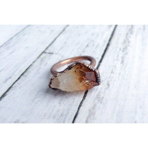 Raw citrine ring | Citrine crystal ring | Citrine and copper ring | Real citrine fashion jewelry | Raw citrine crystal statement ring