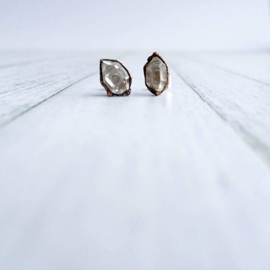 Raw crystal studs | Herkimer diamond earrings | Tibetan quartz earrings EARRINGS