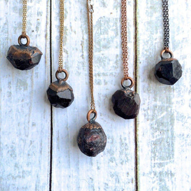 Raw garnet necklace | Garnet crystal necklace | Raw garnet pendant on copper chain NECKLACES