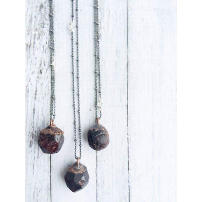 Garnet crystal necklace | Raw garnet and sterling necklace| Rough garnet pendant NECKLACES