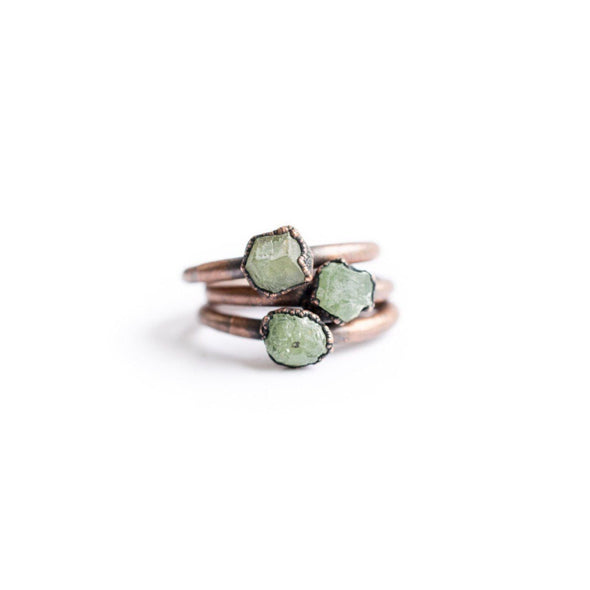 Raw garnet ring | Green Garnet ring | Electroformed Garnet ring | Raw Gemstone ring | Demantoid Garnet | Raw mineral ring