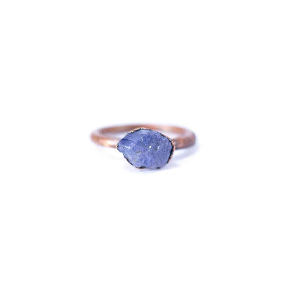 Raw tanzanite ring | Stone stacking ring | Copper & tanzanite stack ring | Electroformed jewelry | Birthstone jewelry | Birthstone Ring
