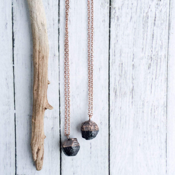 Raw tourmaline necklace | Black tourmaline crystal necklace | Electroformed tourmaline necklace | Raw tourmaline jewelry