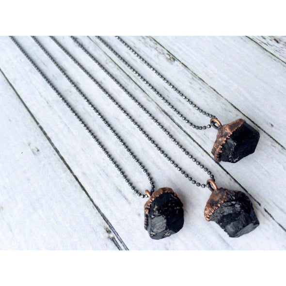Raw tourmaline necklace | Black tourmaline sterling silver crystal necklace | Electroformed tourmaline necklace NECKLACES