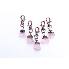 Rose Quartz crystal keychain | Raw crystal keychain | Rose Quartz crystal key clip KEYCHAINS