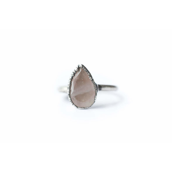 Rose Quartz ring | Organic stone stacking ring | Rose Quartz teardrop ring