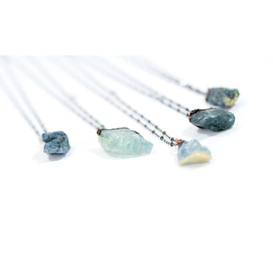 Aquamarine necklace | Raw aquamarine jewelry | March birthstone necklace NECKLACES