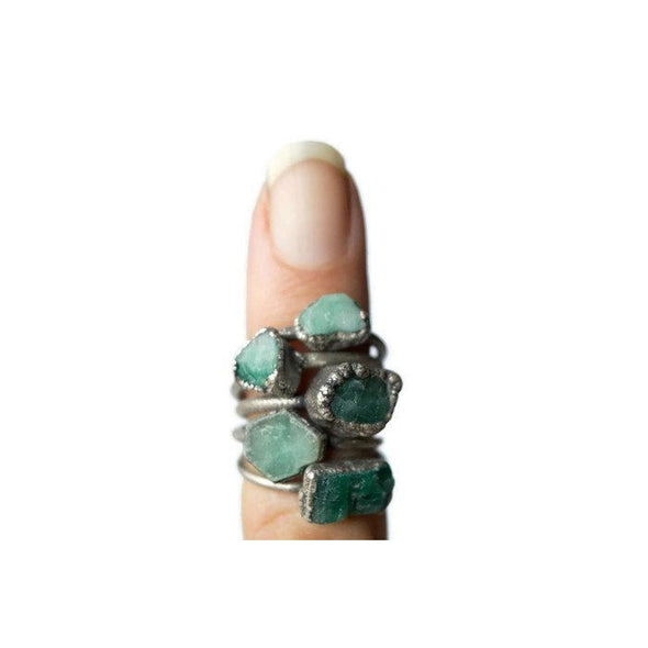 Rough emerald ring | Raw Emerald birthstone ring | Raw stone jewelry