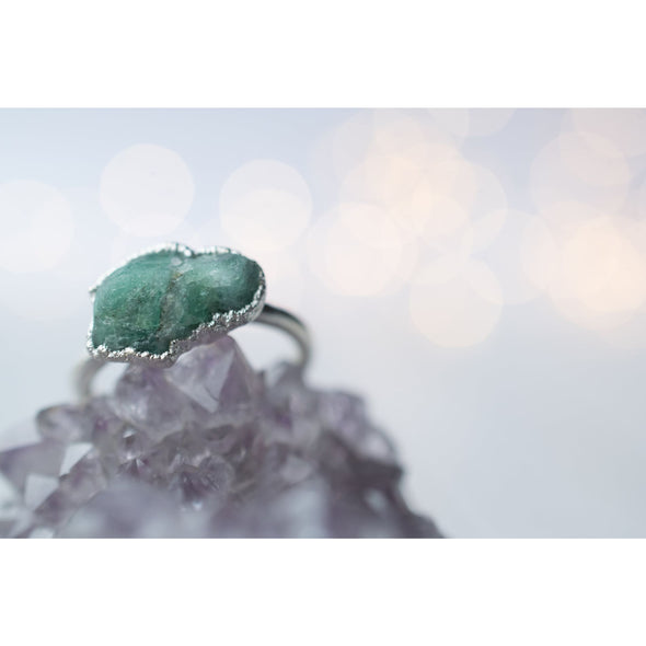 Silver Emerald ring | Rough emerald ring | Raw stone jewelry