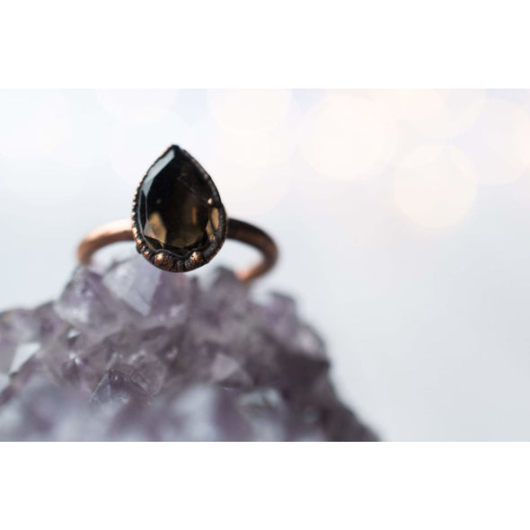 Smokey Quartz ring | Organic stone stacking ring | Smokey Quartz teardrop ring | Organic gemstone jewelry | Mineral stacking ring