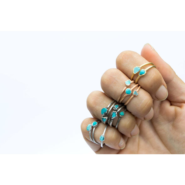 Tiny Turquoise nugget ring | Raw turquoise stacking ring | Turquoise stone ring