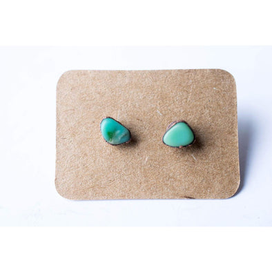 Tumbled chrysoprase studs | Chrysoprase crystal studs | Green chrysoprase post earrings