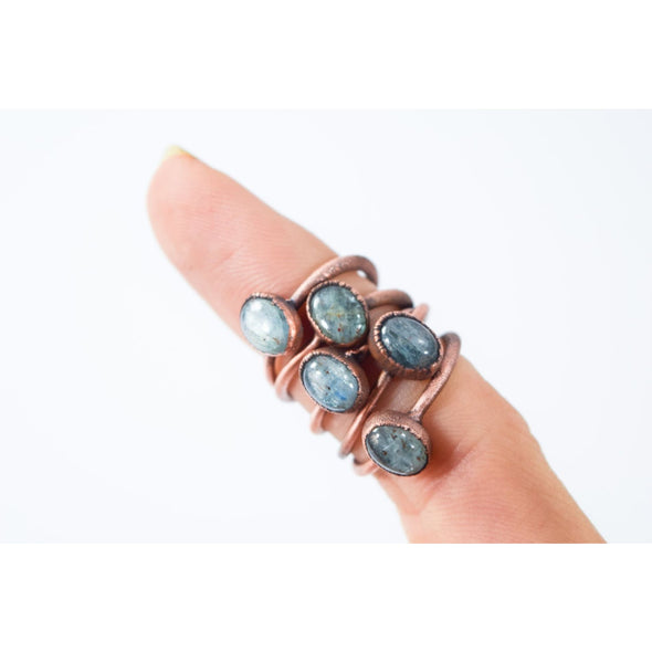 Tumbled Kyanite ring | Blue Kyanite ring | Electroformed Kyanite ring | Kyanite mineral ring | Kyanite healing crystal jewelry