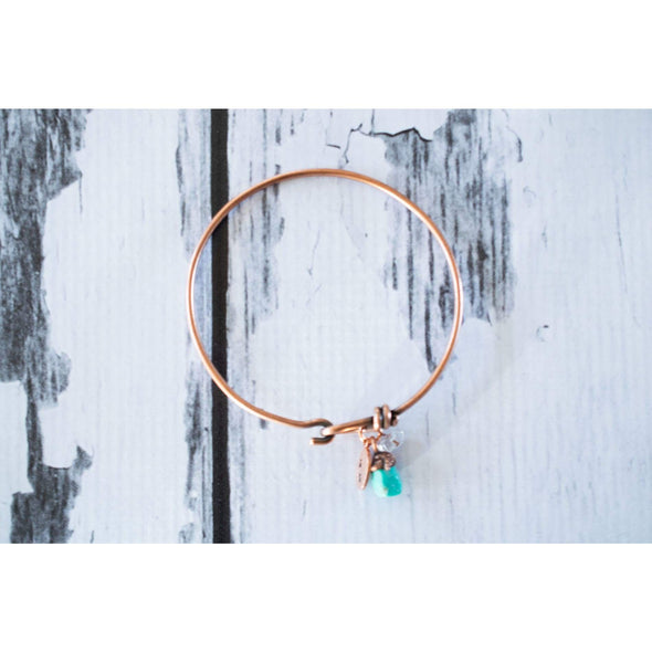 Turquoise crystal bracelet | Turquoise crystal bangle | Raw crystal bracelet