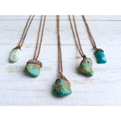 Turquoise nugget necklace | Raw turquoise jewelry | American turquoise pendant NECKLACES