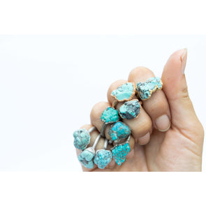Turquoise nugget ring | Raw turquoise stacking ring | Turquoise stone ring