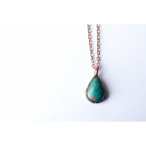 Turquoise teardrop necklace | Raw turquoise jewelry | American turquoise pendant