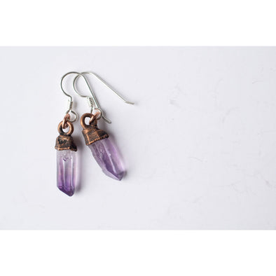 Vera Cruz Amethyst earrings | Raw amethyst pendant earrings | Amethyst earrings | Raw crystal sterling jewelry