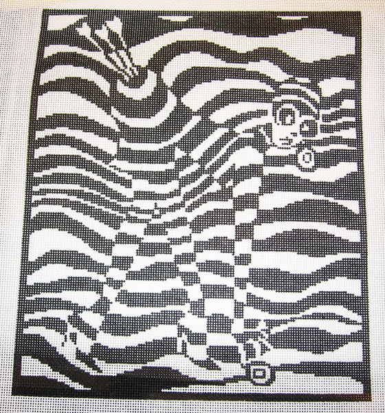 Needlepoint Black and White Abstract Canvas