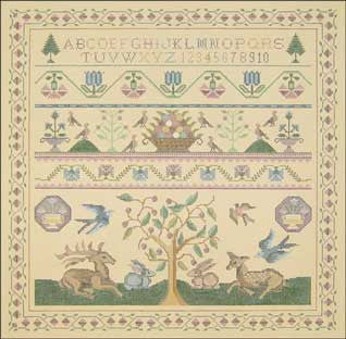 Needlepoint Stag & Rabbits Sampler Canvas