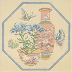 Needlepoint Blue Lillies Canvas