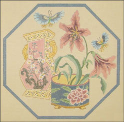 Needlepoint Peach Lillies Canvas