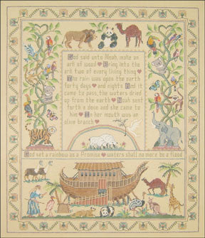 "Needlepoint Noah's Ark Sampler 16.5""x 20""_ Canvas"