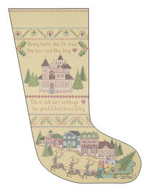 "Needlepoint Victorian Christmas Stocking 20"" x 12"" Canvas"