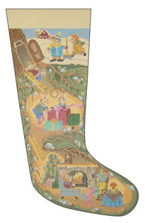 "Needlepoint Rabbit Hole Stocking 23"" x 12"" 18m $ 370 Canvas"