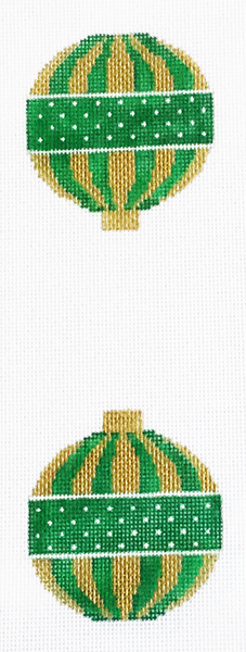Green and Gold Stripe Ornament
