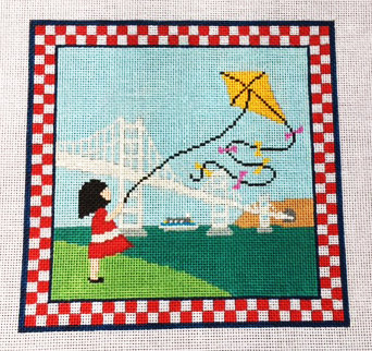 Girl Flying Kite by the Bay Birdge