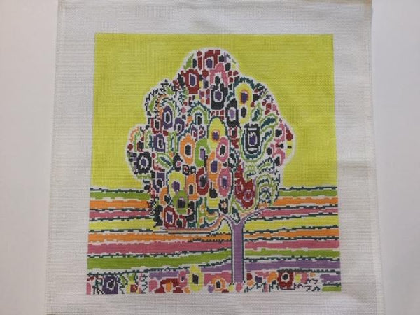 Colorful Abstract Tree Pillow