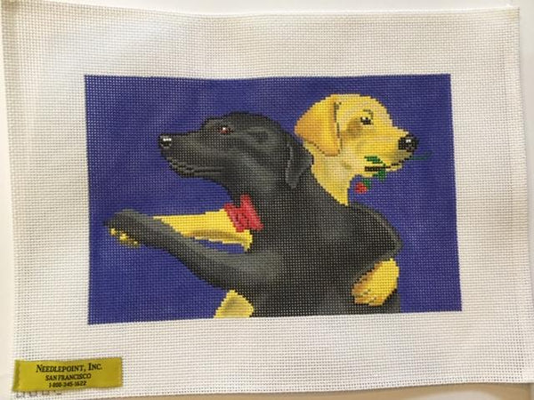 Black and Yellow Labs Dancing Pillow