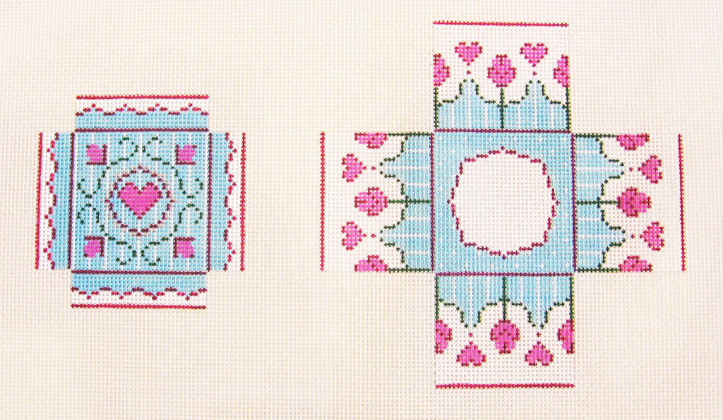 Needlepoint Small Tiffany Heart Box Canvas