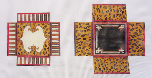Needlepoint Large Square Leopard Print Box Canvas