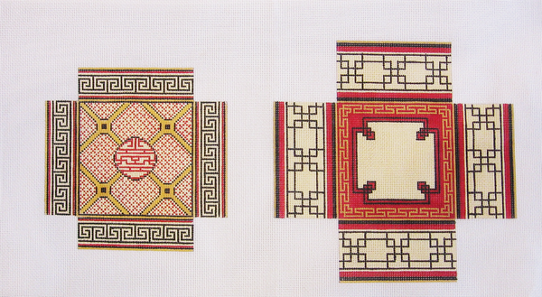 Needlepoint Large Square Asian Design Box Canvas