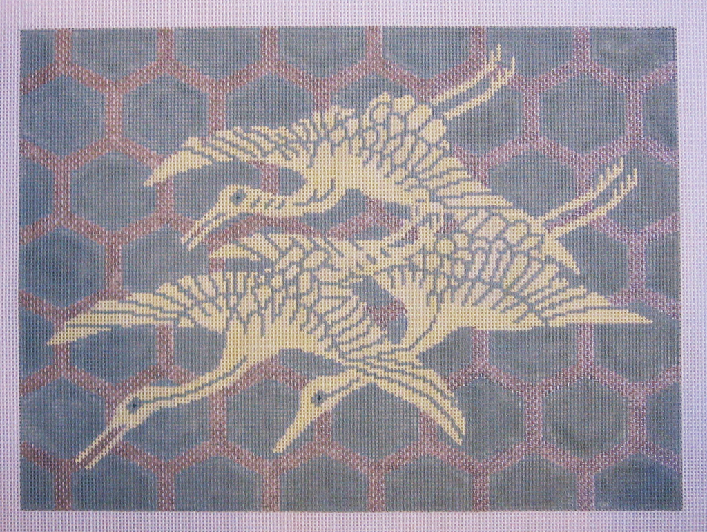 Needlepoint Flying Cranes Canvas