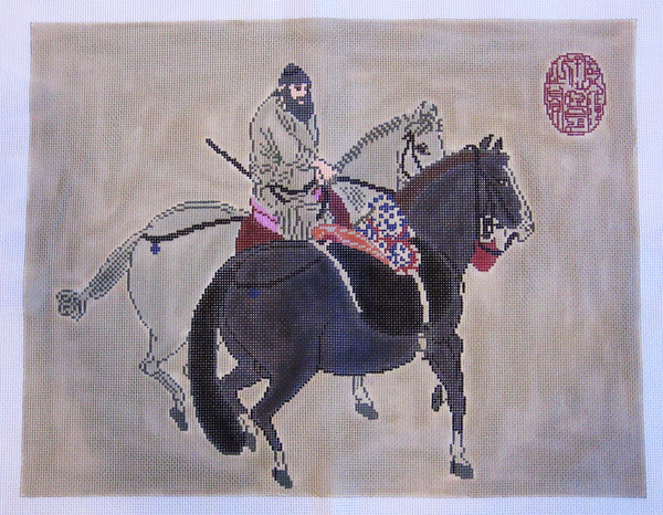 Needlepoint Rider with Two Horses Canvas